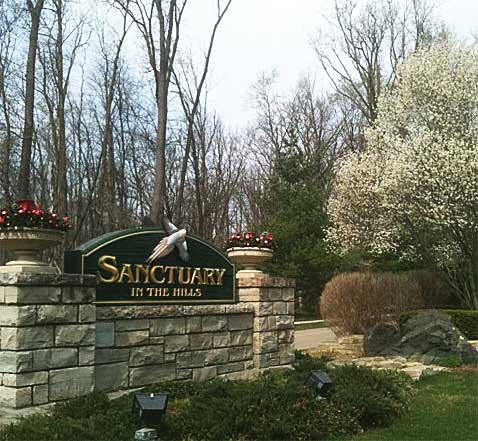 Sanctuary in the Hills Community Entrance Sign